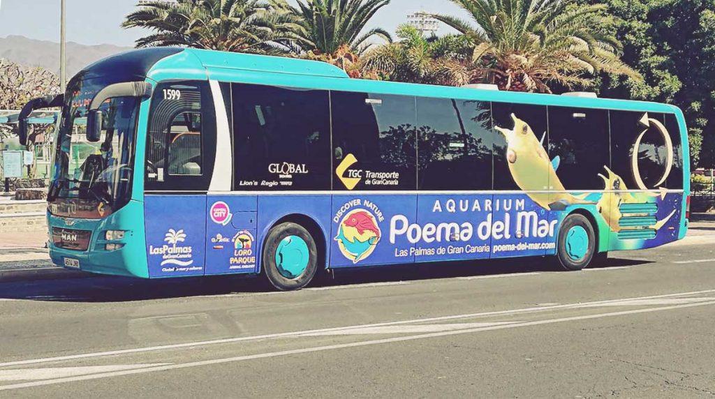 Transporte público en Gran Canaria. Autobús de Global