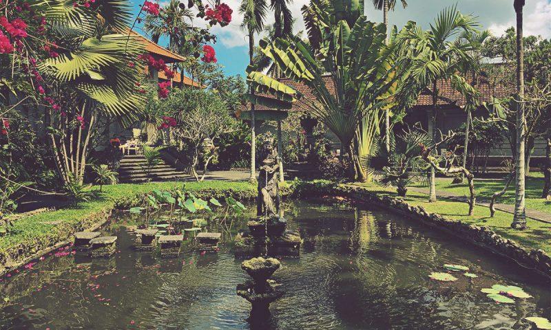 Jardines y estanque del museo Puri Lukisan. Ubud, Bali
